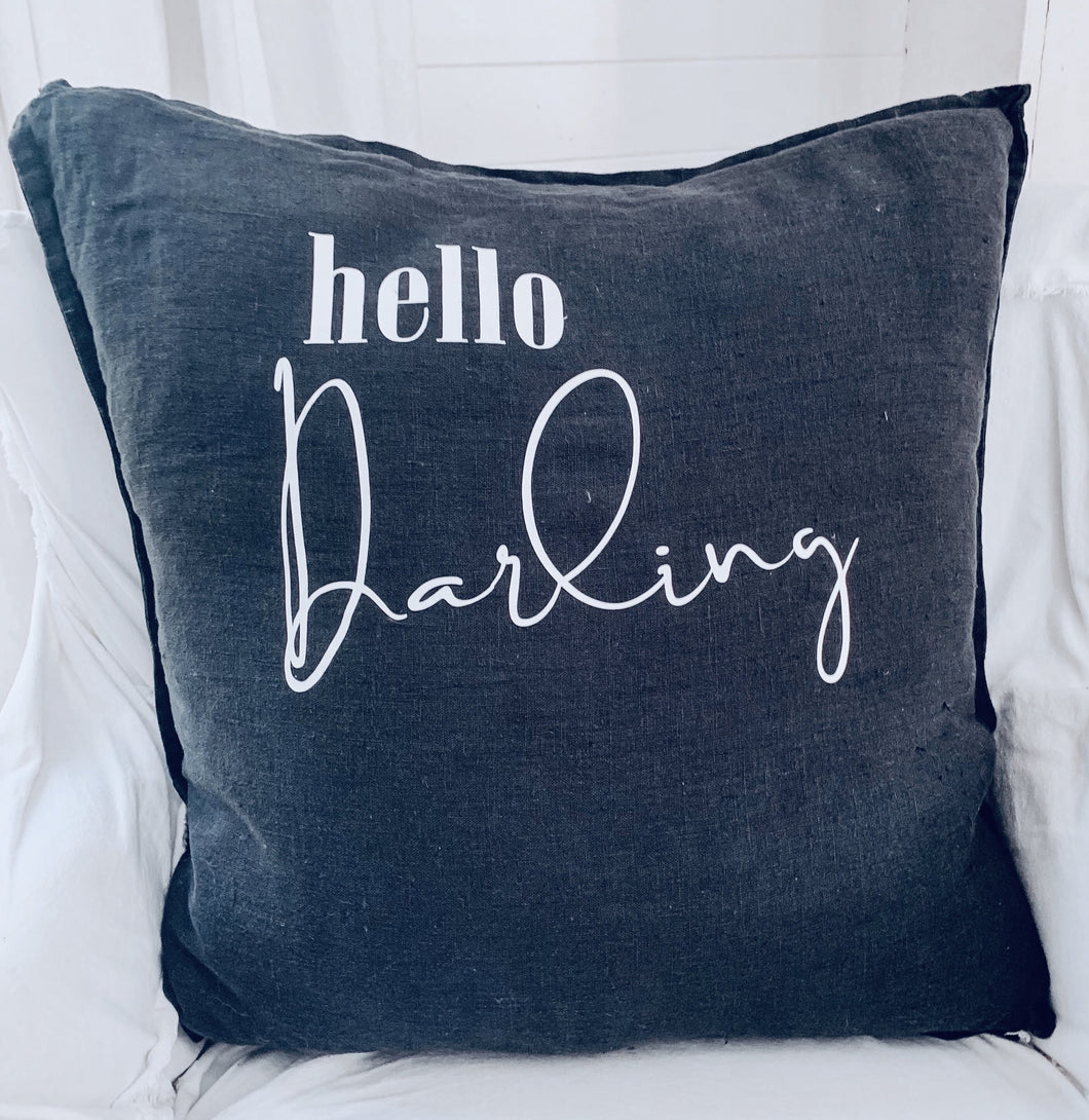 [E] Hello Darling Euro Pillow- Washed Black