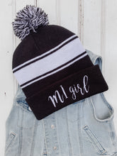 Load image into Gallery viewer, [C] Michigan Girl Pom Pom Beanie- Black + White