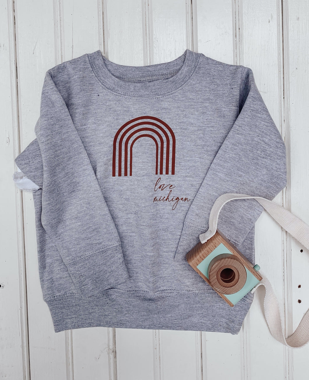 [A] Love Michigan! Rainbow Spice Toddler Sweatshirt- Athletic Heather