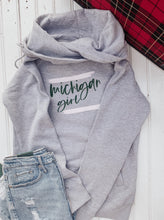 Load image into Gallery viewer, [A1] Michigan Girl Funnelneck - Athletic Heather with Green + Pink