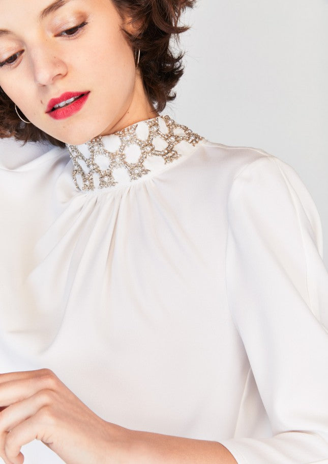 Crepe Blouse with Beaded Collar