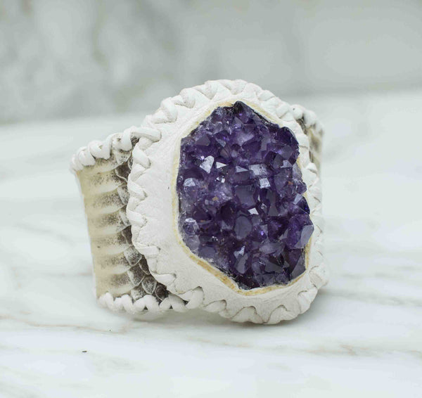 Amethyst Cluster White with Snake