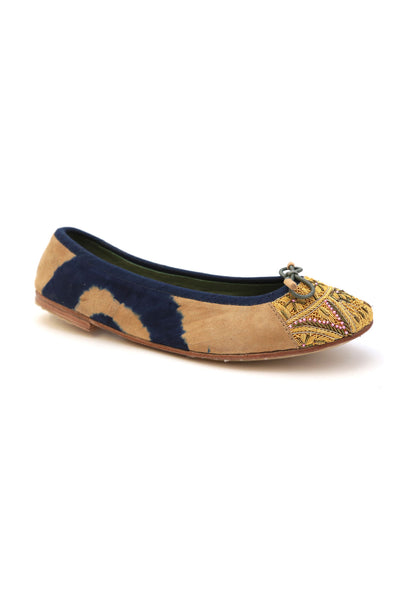 Bizi Ballet Flat – Tie Dye Blue with Beige + Lemon