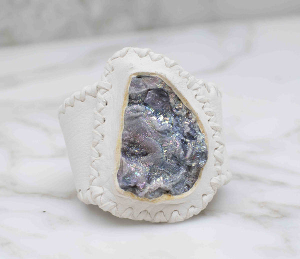 Chalcedony Druzy infused with crystal