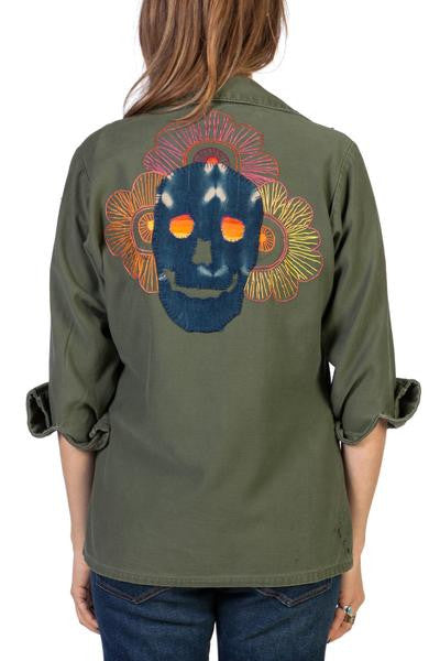 Embroidered Skull Army Shirt Jacket