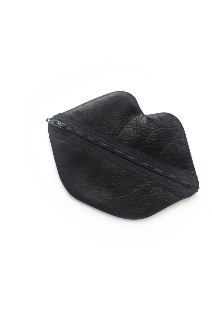 Small Lips Bag - Black Leather