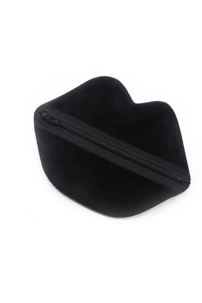 Mini Lips Bag - Black Suede
