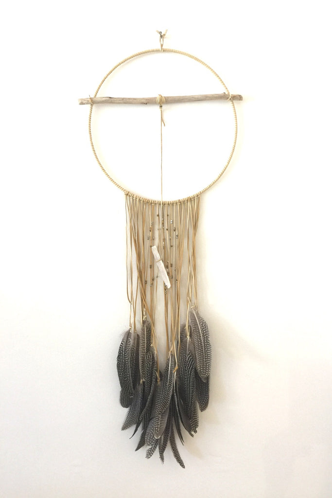 Round Dreamcatcher with Gray Feathers