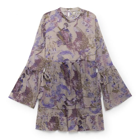 Oriental Printed Dress - Purple