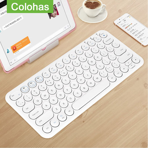 Round Keycap Bluetooth Keyboard Wireless Silent Gaming Keyboard For Macbook Pro iPhone iPad Tablet Ultra-slim Computer Keyboard