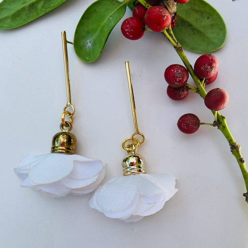 Fabric earrings *Flor White*