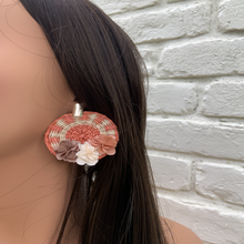 Load image into Gallery viewer, MS Orange Iraca Palm Earrings