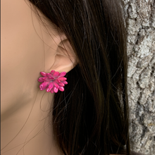 Load image into Gallery viewer, Fuchsia Melon Seeds Stud Earrings