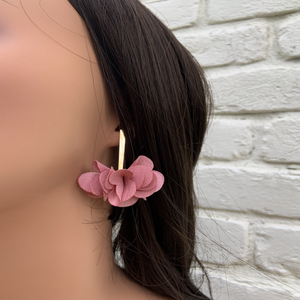 Fabric earrings *Flor pink*