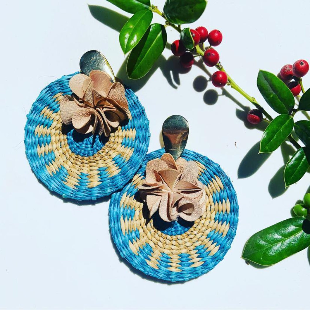 MS BlueIraca Palm Earrings