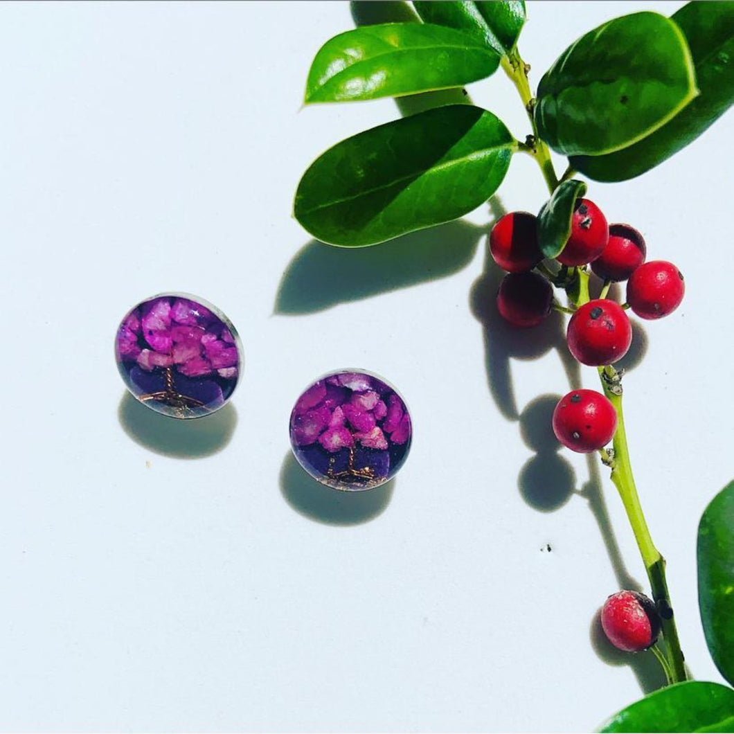 Purple life tree Stud Earrings