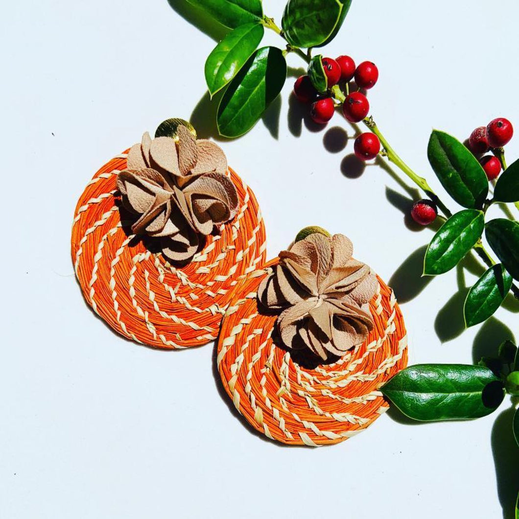 MS Orange one flower Iraca Palm Earrings