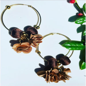 Maria Celeste  Hoops Flower Brown