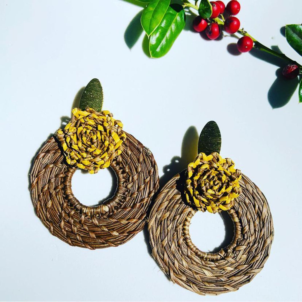 MS Brown Iraca Palm Earrings