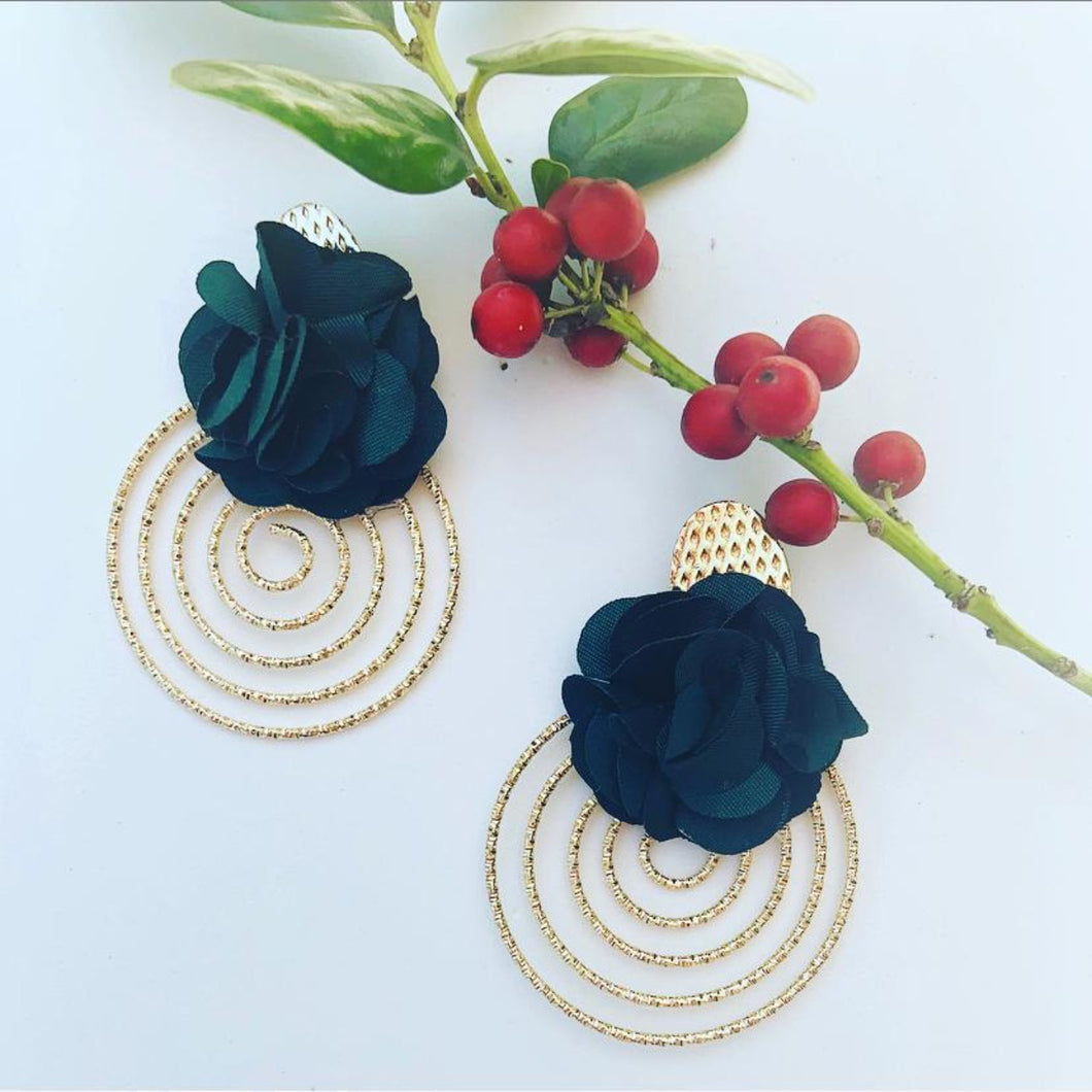 Gold Fabric earrings *Dark green