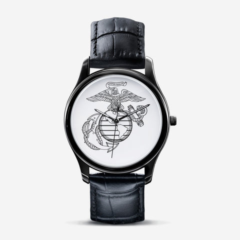 USMC Classic Fashion Unisex Print Black Quartz Watch accessories
