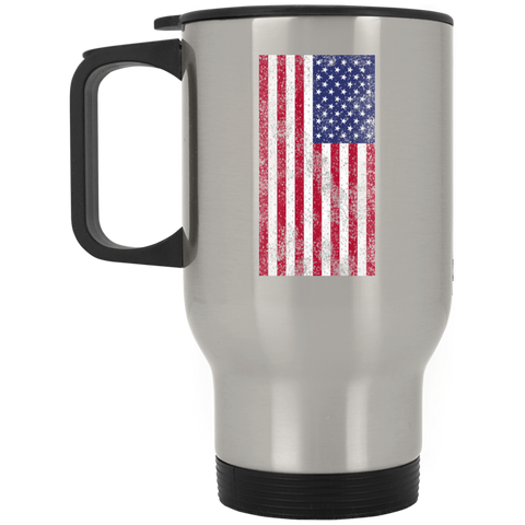 USA Flag Silver Stainless Travel Mug Accessories