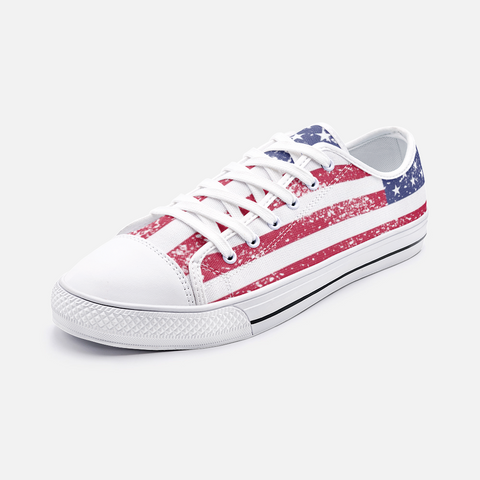 USA Flag Unisex Low Top Canvas Shoes Accessories