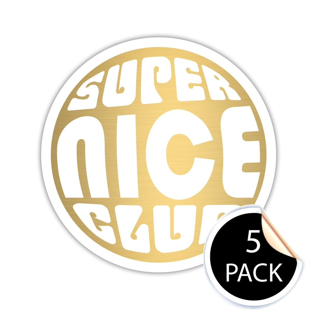 Super Nice Club GOLD/WHITE Stickers (Pack of 5)
