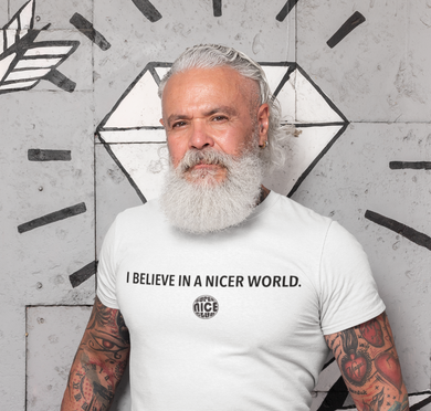 SNC T-Shirt: BELIEVE IN A NICER WORLD | White - Unisex