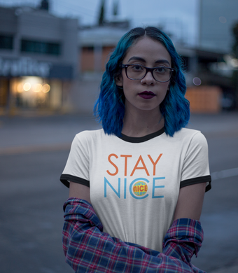 SUPER NICE CLUB: Stay Nice Ringer White (Women)