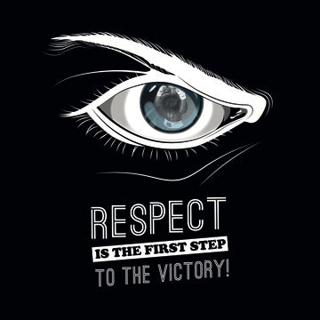 Respect is the first step to the victory (Fighter spiegelt sich im Auge)