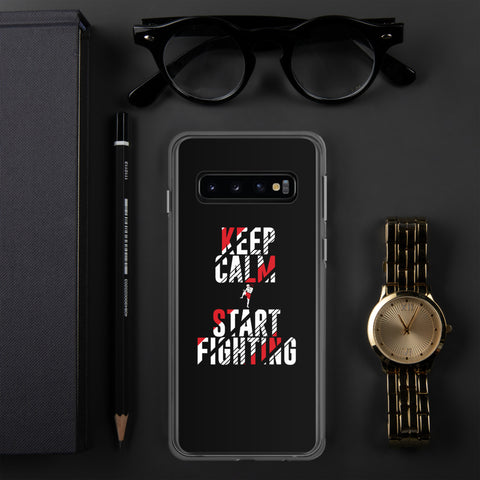 Samsung Hülle (schwarz) - Keep Calm & Start Fighting