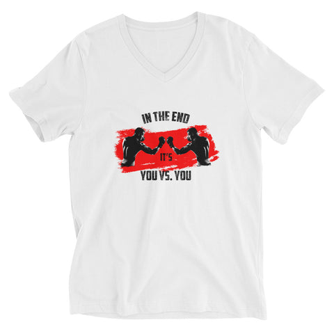 Cotton t-shirt with V-neck - In the end it's you