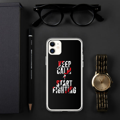 iPhone Hülle (schwarz) - Keep Calm & Start Fighting