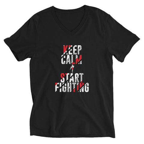 Unisex V-Neck T-Shirt - Keep Calm & Start Fighting