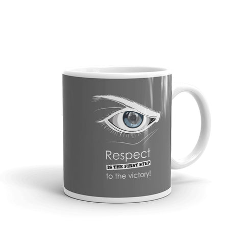 Kaffeetasse - Respect is the first step to victory (Fighter im Auge)