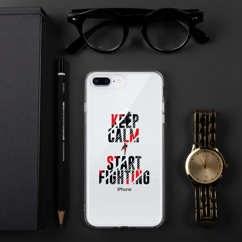 iPhone Hülle (transp.)- Keep Calm & Start Fighting