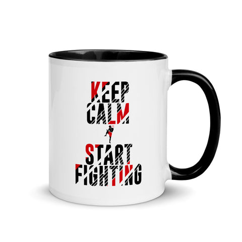 Kaffeetasse mit farbiger Innenseite - Keep Calm & Start Fighting