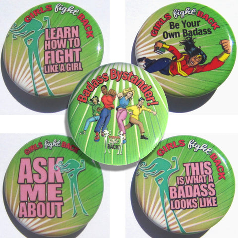 Girls Fight Back! Buttons