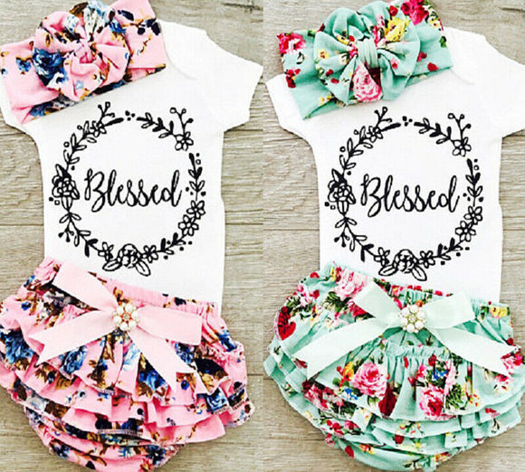 0-18M Newborn Baby Girls Cotton Tops Romper Floral Shorts Headband