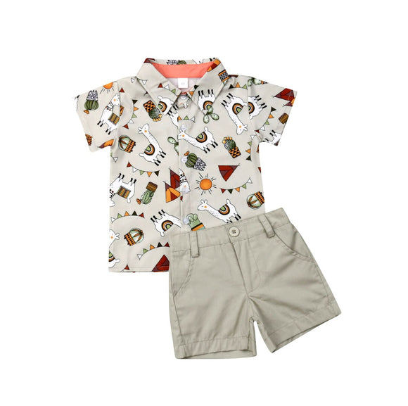 1-5Years Toddler Kids Baby Boy Gentleman Clothes Alpaca Shirt Tops Shorts Pants Outfit