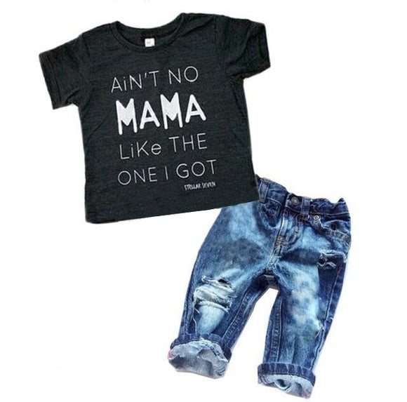 2 pieces boys Short sleeve and Ripped Hole Denim Jeans Set