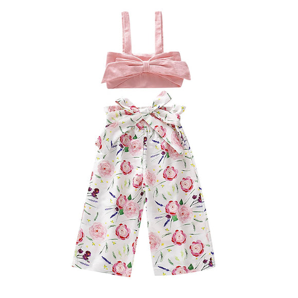 2019 Baby Summer Clothing 0-5Y Infant Baby Girl Kids Floral Clothes Sets Sleeveless T shirt Vest Sash Pants 2PCS Outfits Clothes