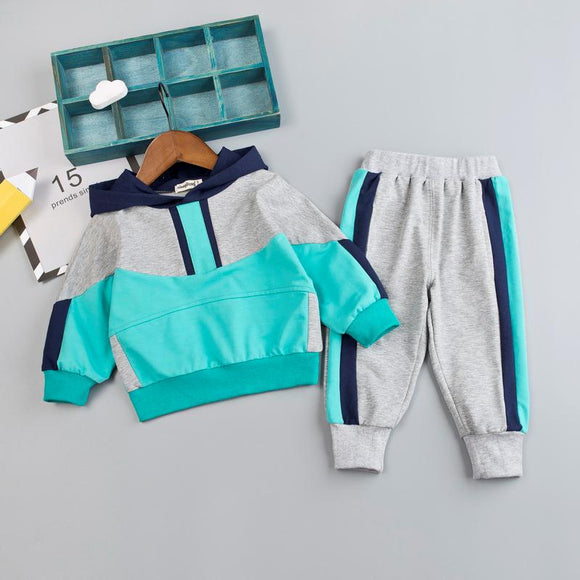 Kid Boy Clothes Set For Girl Casual Sportswear  Fashion Patchwork Baby Boy T Shirt + Pants 1 2 3 4Y