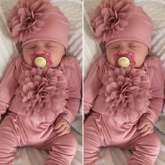2PCS Newborn Baby Girl 0-18M Clothes 3D Flower  Jumpsuit Hat Outfit Set