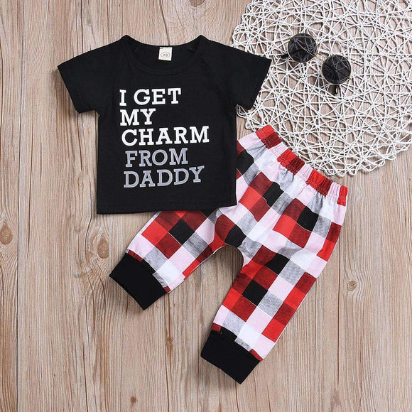 2Pcs Toddler Kids Baby Boy Letter T shirt Tops+Plaid Pants Set