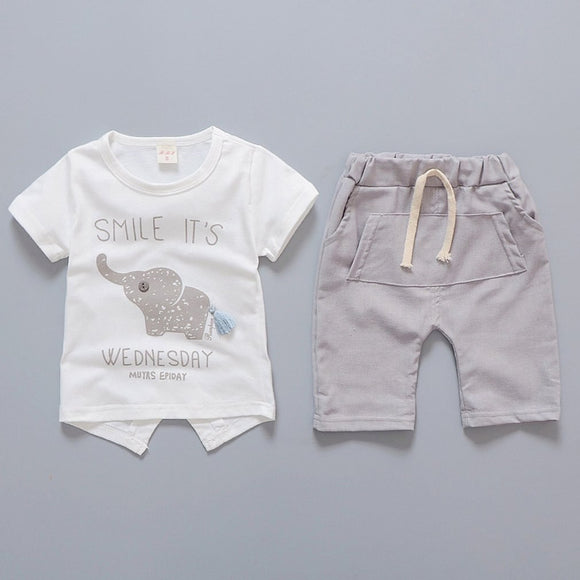 2pcs Set Summer Baby  Fashion Casual  Elephant Set For Kids