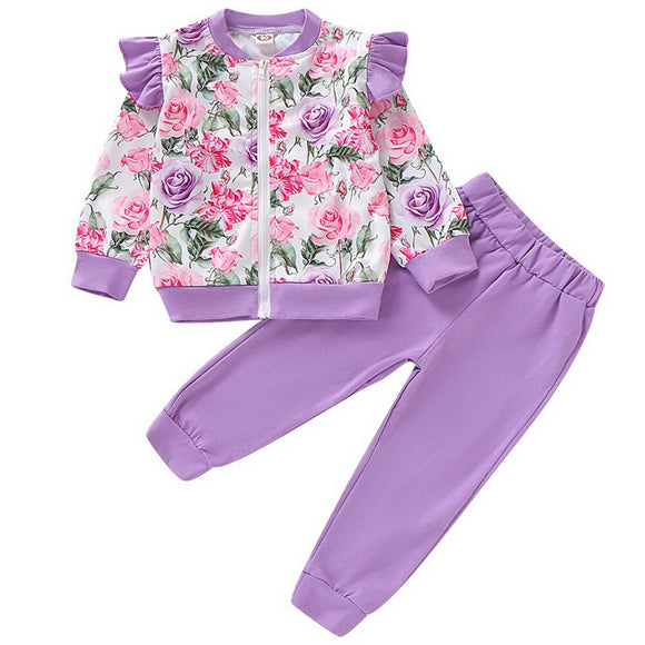 2-7T Kids Girls  Set  Long Sleeve zipper Sweatshirt  Pants Toddler  Clothes Tracksuit Girl Outfit