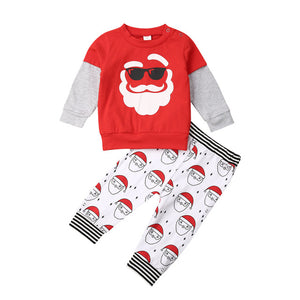 2019 Toddler Kids Baby Boy Girl Christmas Santa Set 2pcs Size 2-6Y