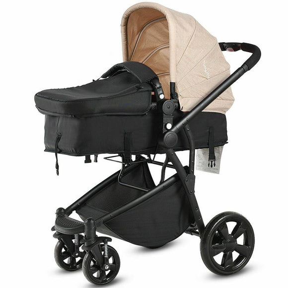 2 in 1 Folding Aluminum Baby Stroller Buggy Newborn Travel Pushchair Beige